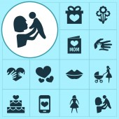 Mothers day icon design concept Set of 12 such elements as lips loving and woman Beautiful symbols for heart love and hand
