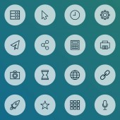 Interface icons line style set with social watch datacenter and other camera elements Isolated vector illustration interface icons