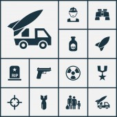 Combat icons set with grave gun poison and other target elements Isolated vector illustration combat icons