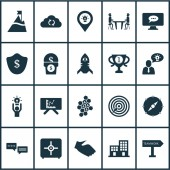 Team icons set with 5-star review office building best solution and other synchronize data elements Isolated vector illustration team icons