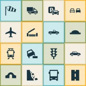 Transportation icons set with truck side wind soft verges and other automobile elements Isolated vector illustration transportation icons