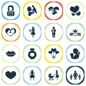 Mothers day icon design concept Set of 16 such elements as loving soul and balloon Beautiful symbols for mother heart and baby