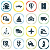 Shipment icons set with soft verges taxi sail boat and other vehicle elements Isolated vector illustration shipment icons