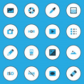 Photo icons colored set with iso slideshow high dynamic range and other mode elements Isolated vector illustration photo icons