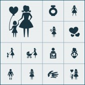 Mothers day icon design concept Set of 12 such elements as daughter placard and protect Beautiful symbols for mother baby and heart