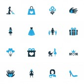Mothers day icon colored design concept Set of 16 such elements as helping package and mum Beautiful symbols for mother palm and woman