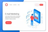Email marketing isometric concept