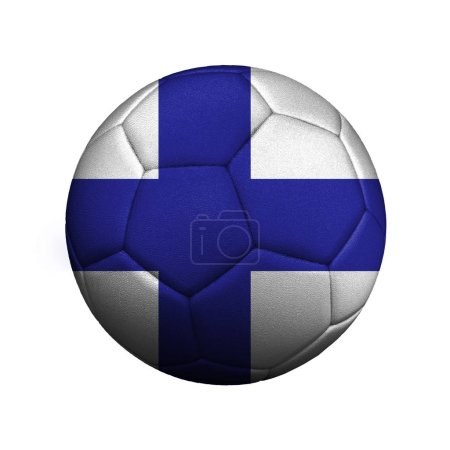 The flag of Finland is depicted on a soccer ball