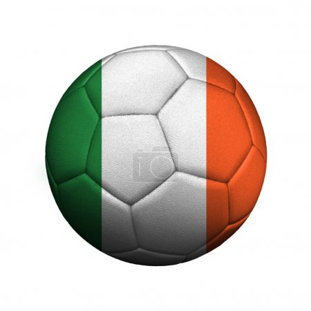 The flag of Ireland is depicted on a soccer ball