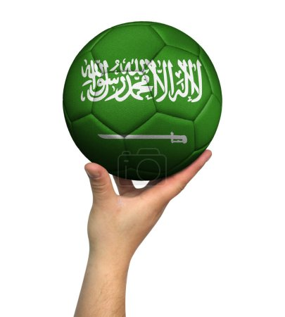 Photo pour Man holding Soccer ball with Saudi Arabia flag, isolated on white background. - image libre de droit