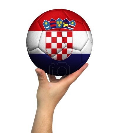 Photo pour Man holding Soccer ball with Croatia flag, isolated on white background. - image libre de droit