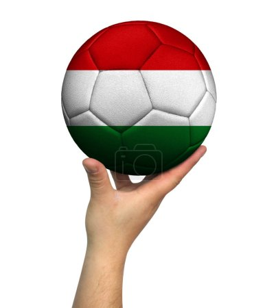 Photo pour Man holding Soccer ball with Hungary flag, isolated on white background. - image libre de droit
