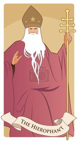 Illustration pour Major Arcana Tarot Cards. Le Hiérophant. Pape à la barbe blanche et à la mitre étoilée, tenant un crosier d'or, bénissant de sa main droite . - image libre de droit