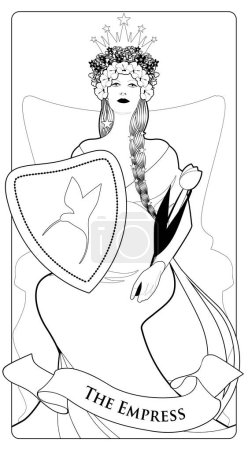 Illustration for Major Arcana Tarot Cards. The Empress. Beautiful woman with long braids, pregnant, sitting on a throne with a crown of flowers and stars, holding a shield with a hummingbird on the front and golden scepter shaped like a tulip. - Royalty Free Image