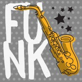Funk Music Lettering Type Poster Design With A Saxophone Illustration Vector Image