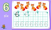 Educational page for young children with number six Developing skills for writing and counting Vector cartoon image