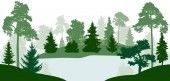 Lake (river) flows through the forest silhouette vector