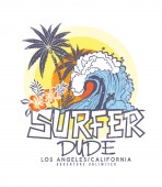 t-shirt print design with text surfer dude and big wave near beach vector illustration