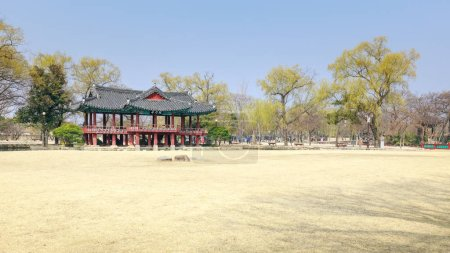 Photo for Namwon, South Korea - March 25, 2018 : Traditional Gwanghalluwon Pavilion scene in spring - Royalty Free Image