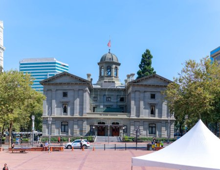 Photo for Portland, Oregon - Aug 29, 2018 : Pioneer Courthouse Square, Park in Portland city - Royalty Free Image