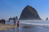 Clatsop County, Oregon - Sep 4, 2018 : Haystack Rock in Cannon beach, Tourist attraction in Clatsop County, Oregon