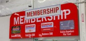 Portland, Oregon - Sep 8, 2018 : Costco Wholesale Membership Sign. Costco Wholesale Corporation is largest membership-only warehouse club in US.