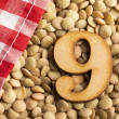 Number 9, Lentils with checkered napkin - Lens cul...