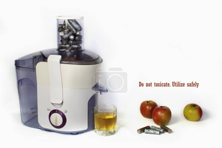 Photo for Electric juicer with used batteries instead of fresh fruits or vegetables, white background, ecological problem, earth pollution caused by wrong dispose of electronic equipment, focus on batteries - Royalty Free Image