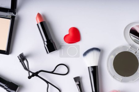Photo for Set of Makeup cosmetics products with bag on top view - Royalty Free Image