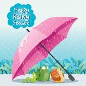 """Постер, картина, фотообои """"Улитка, лягушка и червя под зонтиком на земле вместе в дождь, муссонов, дождливый день, сезон, дождевая, животных, природных, пропитанной"""""""