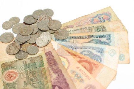 Photo pour Vieil argent URSS, pièces sur fond blanc . - image libre de droit
