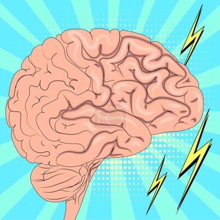 Illustration pour Le cerveau humain fonctionne activement. Fond pop art. Imitation du style BD. Illustration vectorielle - image libre de droit