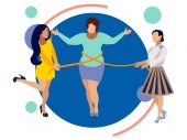 Thin friends help a woman to lose weight In minimalist style Flat isometric vector