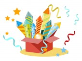 Box with fireworks firecrackers Set for the holiday In minimalist style Flat isometric vector