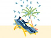 A rich businessman is resting on the beach Beach holiday background Flat style Cartoon vector