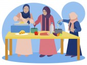 Muslim women are cooking in the kitchen Teaching daughters national recipes In minimalist style Cartoon flat Vector