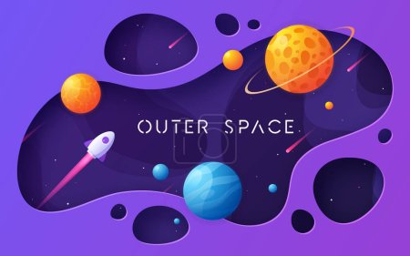 Colorful cartoon outer space background, design, b...