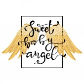 Hand drawn wings and lettering text with typography vector for tattoo or t-shirt printing and embroidery Graphic tee and printed tee Slogan print