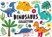 set of isolated cute dinosaurs part 2  - vector illustration eps