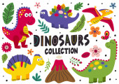 set of isolated cute dinosaurs part 1  - vector illustration eps