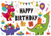 set of isolated cute dinosaurs for Happy Birthday design - vector illustration eps