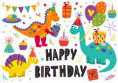 set of isolated cute dinosaurs Happy Birthday - vector illustration eps