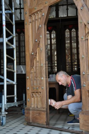 Reconstruction of the old doors of the church