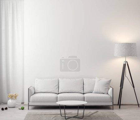 Photo pour Intérieur de la salle de séjour avec des murs blancs, rendu 3d. - image libre de droit