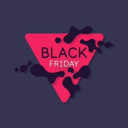 Ilustración de Black friday. Big sales. Bright abstract background with a dynamic splashes of minimalist style. Vector illustration for website design - Imagen libre de derechos