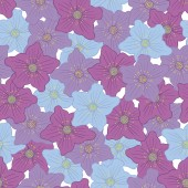 Vector seamless pattern with beautiful blooming flowers
