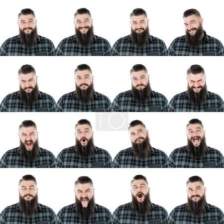 Photo pour Rural rugueux adulte caucasien barbu homme avec chemise et longue collection de barbe ensemble d'expression du visage comme heureux, triste, en colère, surprise, bâillement isolé sur blanc . - image libre de droit