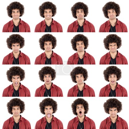 Photo for Young curly hair adult afro american beautiful man wearing casual collection set of face expression like happy, sad, angry, surprise, yawn isolated on white. - Royalty Free Image