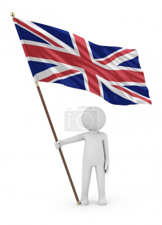Photo pour British Patriot Stickman Holding National Flag of the United Kingdom of Great Britain and Northern Ireland 3d Illustration On White Background (en anglais) - image libre de droit