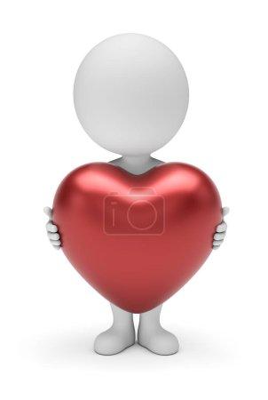Photo pour Petites personnes 3d - stickman tenant grand coeur rouge en forme dans les mains debout dans la vue de face. Rendement 3D. Isolé sur fond blanc . - image libre de droit